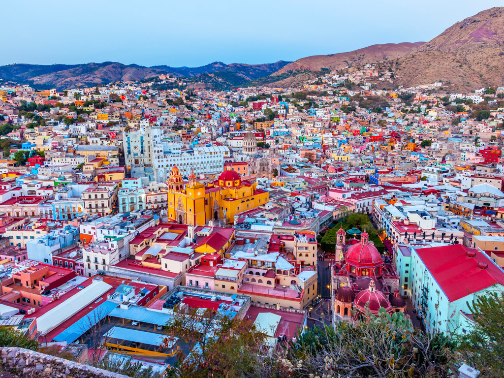 aerial view of colorful houses in Guanajuato, Mexico