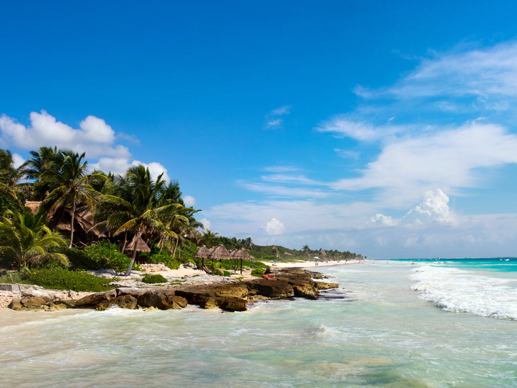 waves on the shore of Isla Mujeres in Mexico