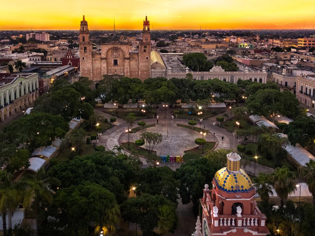 sunset over merida mexico