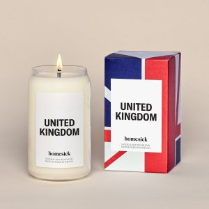 candle with label that says united kingdom