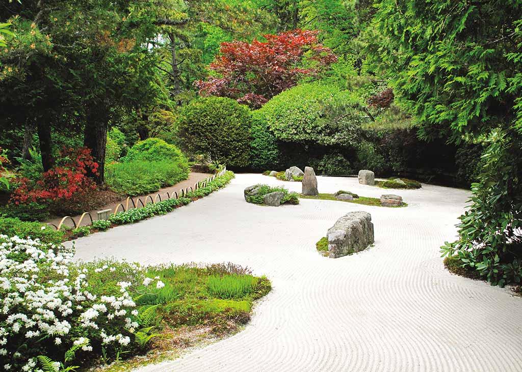 The sand garden at the Japanese-inspired Asticou Azalea Garden. Photo © Hilary and Tom Nangle.