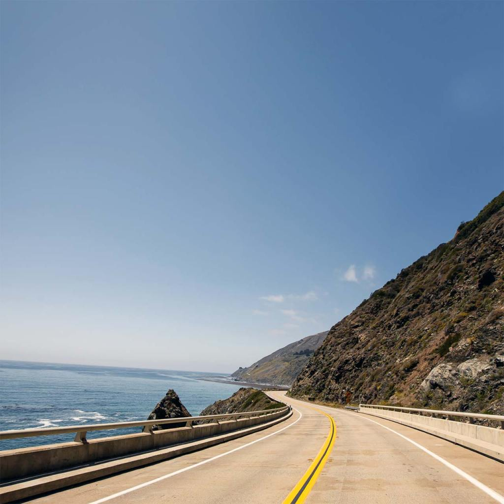 Driving the Pacific Coast Highway near Mendocino.