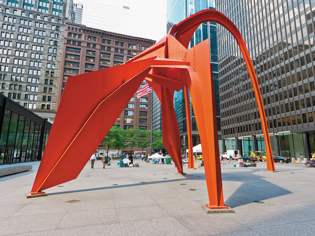 red metal art display in Chicago