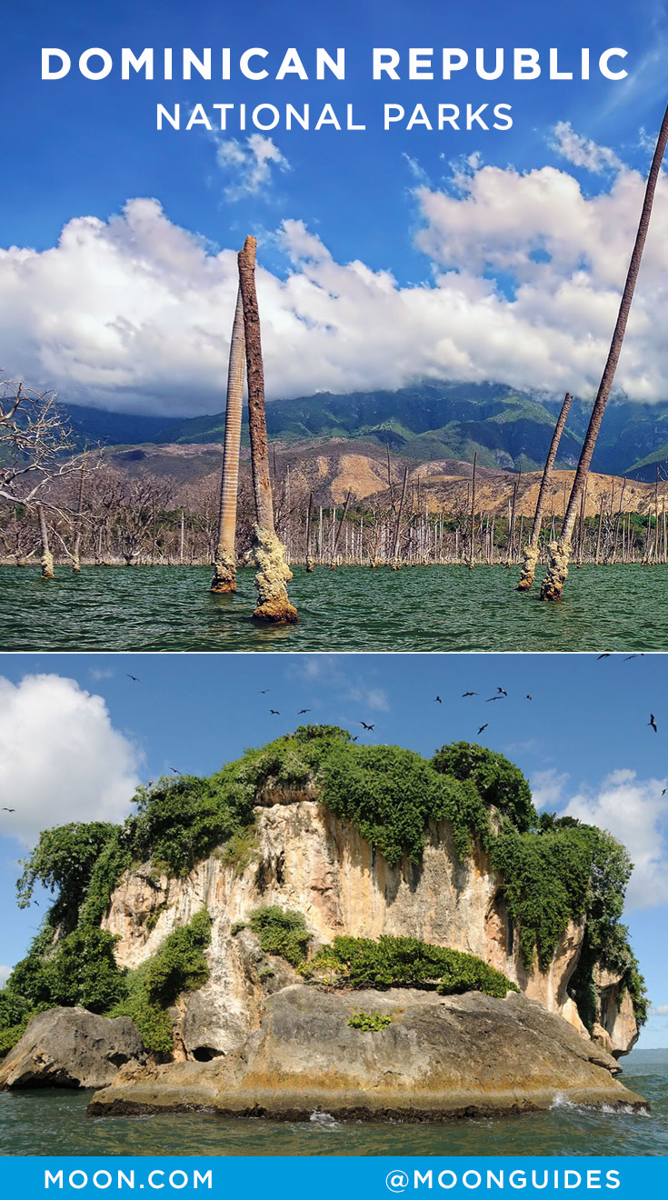 Pinterest graphic showing two of Dominican Republic's national parks
