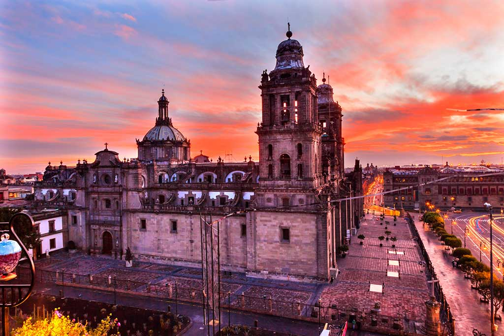 mexico city at sunset