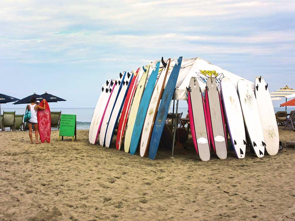 surfboards on the beach in puerto vallarta