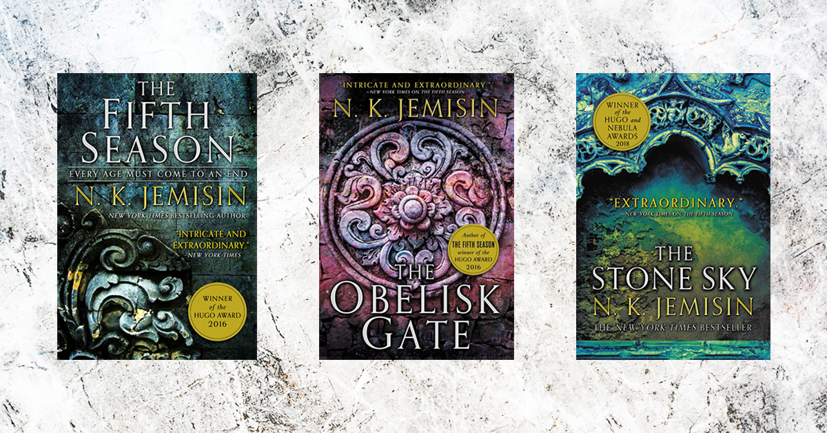 Image result for The Fifth Season, The Obelisk Gate, and The Stone Sky by N.K. Jemisin