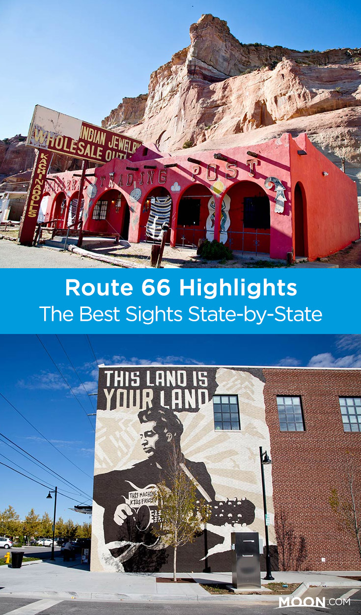 Learn about the Route 66 highlights in each of the eight states it passes through, plus notable stretches of still-drivable Mother Road, from Illinois to California for your road trip. #route66 #roadtrip #usa