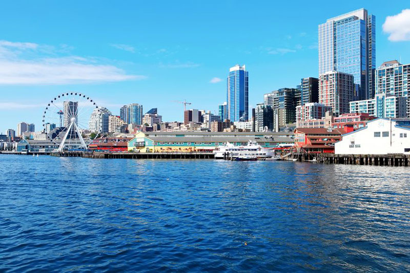 Seattle skyline next to the waterfront