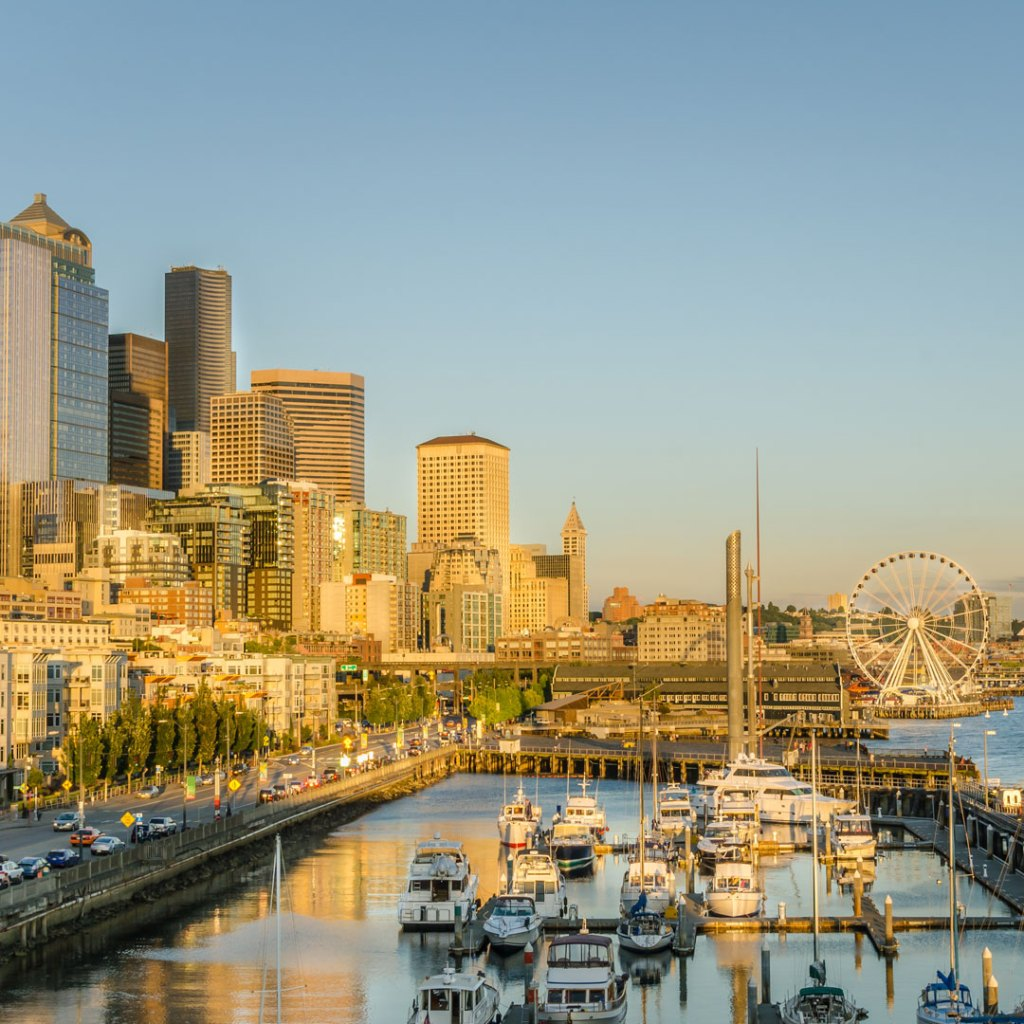 sunset over the seattle waterfront