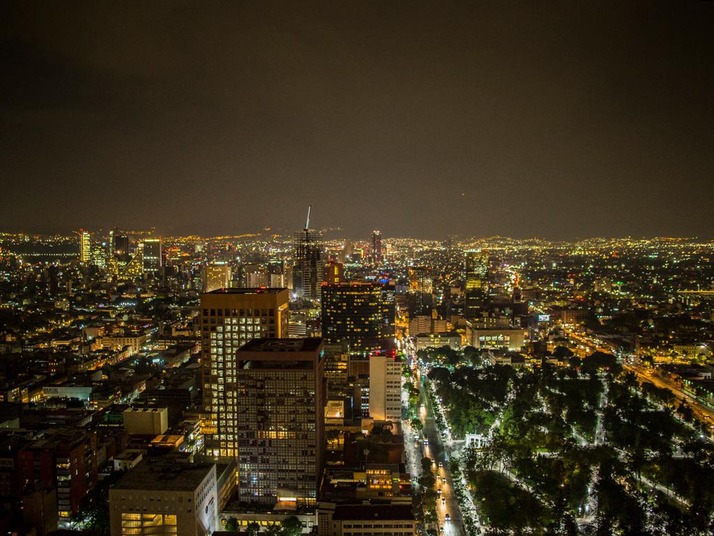 Mexico City skyline at night
