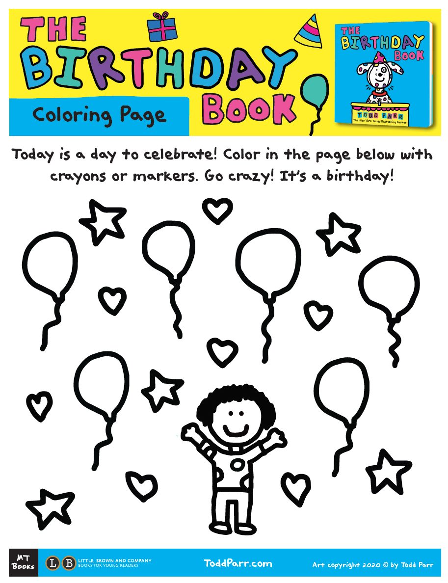 Todd Parr Birthday Book Coloring Page