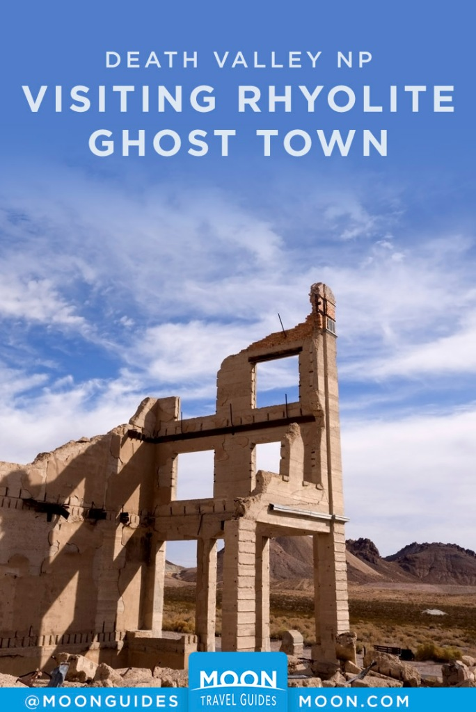 Ruined building facade in Rhyolite. Pinterest Graphic.