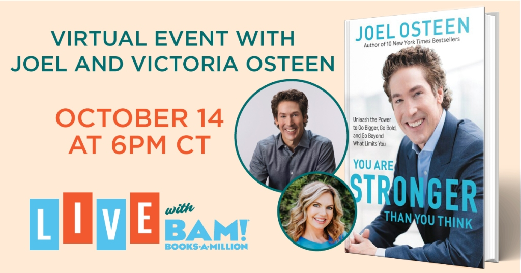 Joel Osteen live with Books-A-Million October 14th 6 PM CT